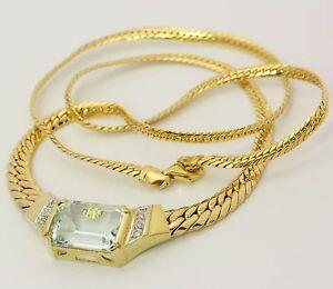 Hals-Kette-Collier-mit-Aquamarin-in-585-14kt-Gelb-Gold-Goldcollier-Goldkette