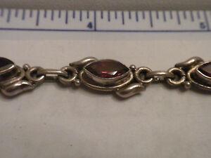Marquis-Shape-Deep-Red-Garnet-925-Sterling-Silver-Tennis-Bracelet-NOS