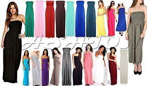 Womens-Strapless-Maxi-Dress-Ladies-Sheering-Boob-tube-Bandeau-Long-Lot-Size-8-22