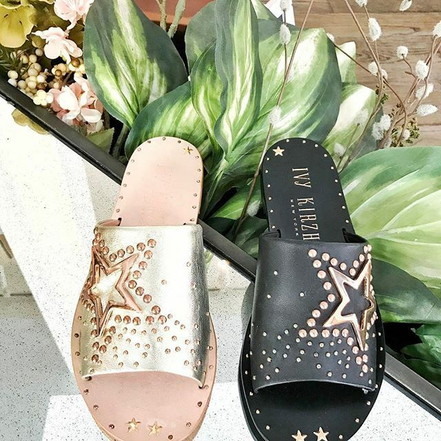 Ivy Kirzhner Wish Slip-On Studded Footbed Slide Mule Star Sandals