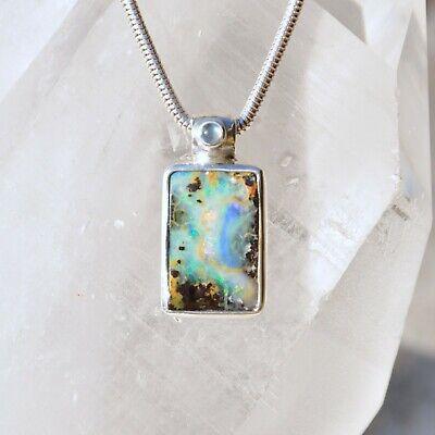 Boulder Opal Anhänger, 925er Silber, Edelsteinanhänger (12544), mit Mondstein | eBay