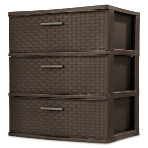 Details About Plastic 3 Drawer Storage Clothes Weave Tower Dresser Cabinet Organizer Bedroom