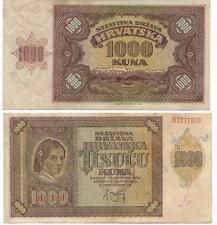 CROATIA, 1941 1000 KUNA BANKNOTE XF-AU, PICK #4