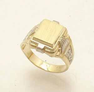 Size 11 Men/'s Engravable Rectangular Signet Ring Real Solid 10K Yellow Gold