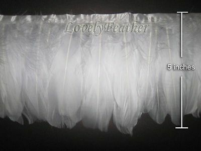 Coque feather fringe of white colour 1 yard trim