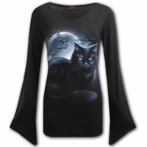 Spiral-Direct-Mystical-Moonlight-Black-Cat-Moon-Long-Sleeved-Flared-V-Neck-Top