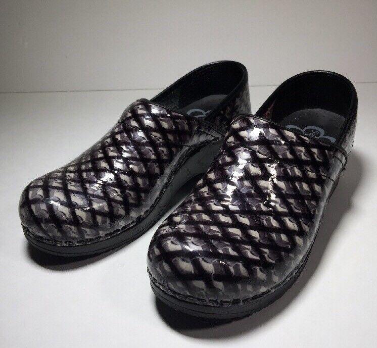 New SANITA Patent Leather PROFESSIONAL CLOGS Black Grey Reptile Womens 37   7 us