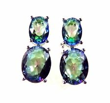 Sterling 925 Silver SF Earrings 9*6mm & 6*4mm Mystic Rainbow Topaz Gems 5/8""