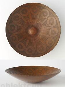 Harjes-Metallkunst-Tafelaufsatz-Schale-Teller-30cm-Pfau-60s-Bowl-Plate-Peacock