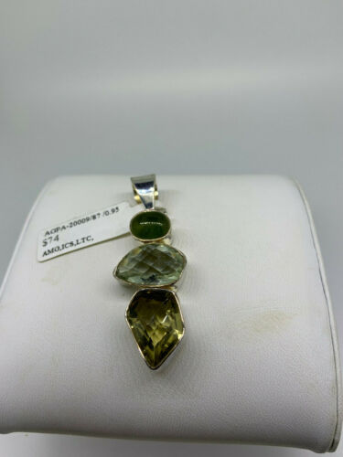 Vintage Sterling Silver Yellow and Green stone pen