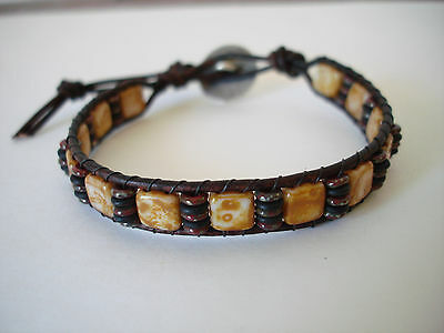 Czech Picasso Butter Pecan & Red Beaded Leather Wrap Bracelet Handcrafted