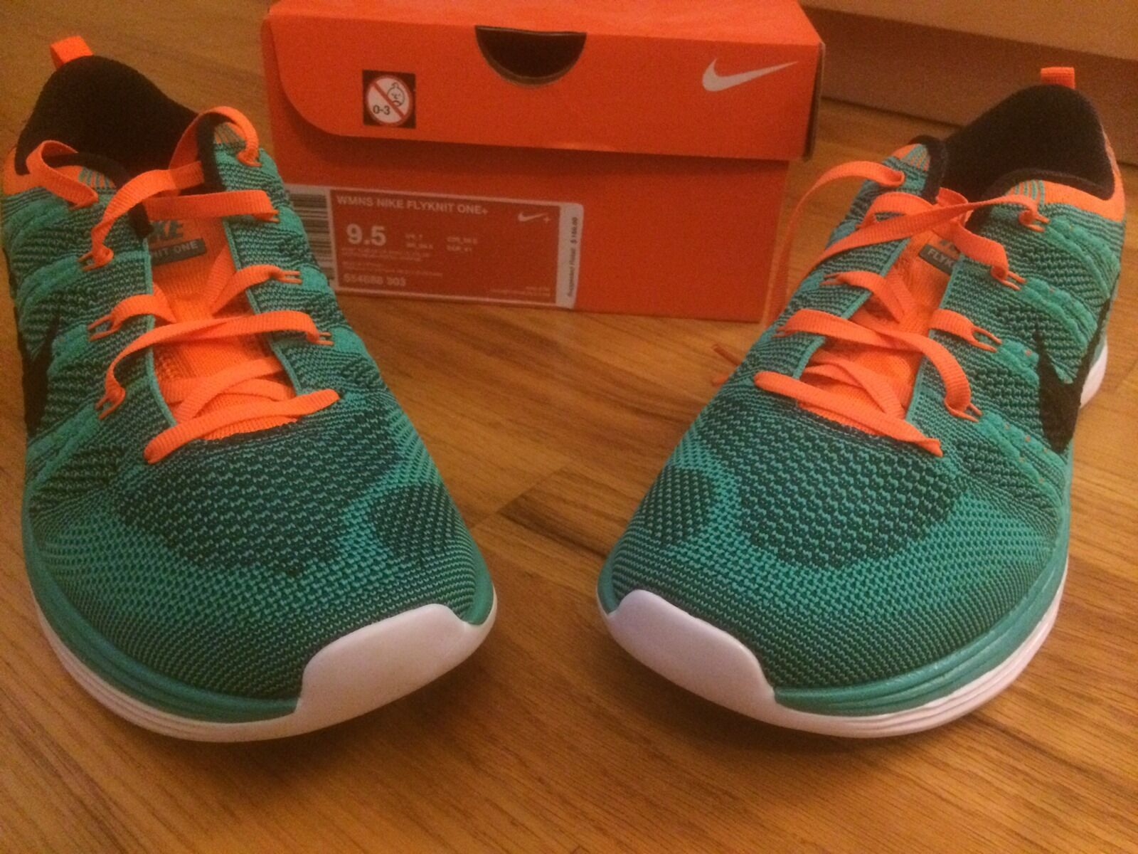 new Nike Wmns Flyknit Lunar One+ Green orange Womens Running Shoes size 9.5