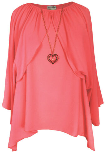 New Ladies Coral Heart Necklace Oversize Cape Tunic Top Plus Sizes 16-26