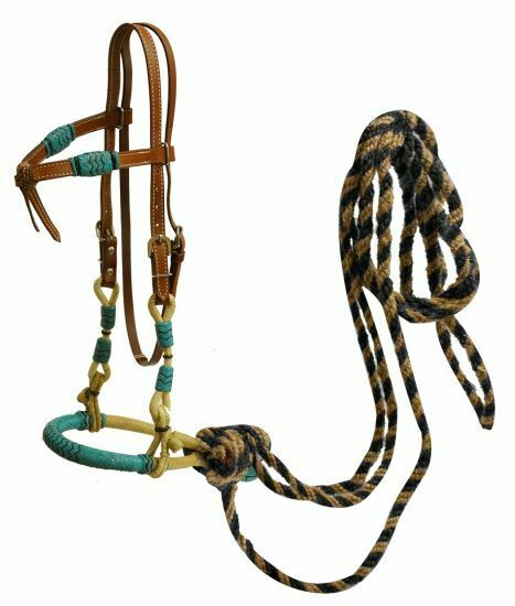 Headstall with teal rawhide braided bosal and horse hair  mecate reins.  100% free shipping