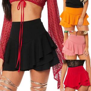 Women-Layered-Ruffled-Frill-Skorts-High-Waist-Active-Mini-A-Line-Skirt-Shorts