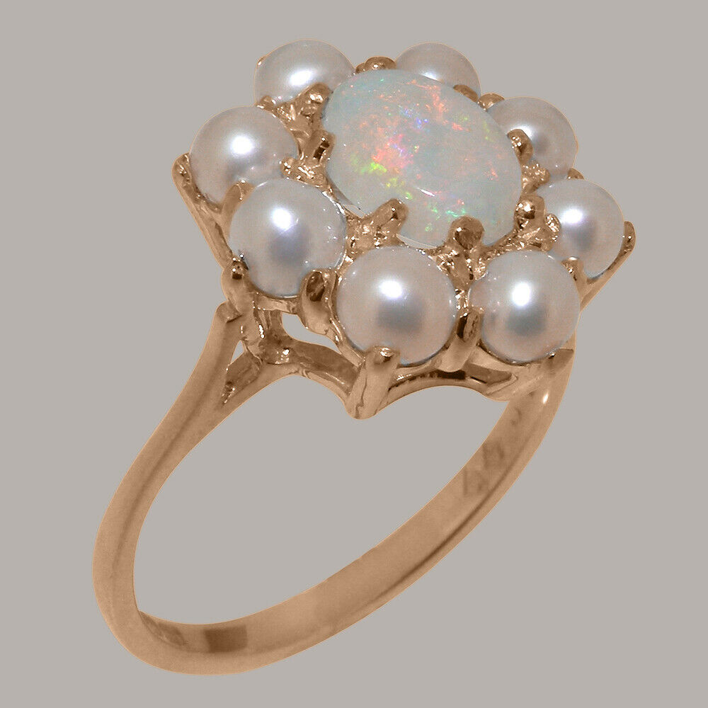 10k pink gold Natural Opal & Cultured Pearl Womens Cluster Ring - Sizes 4 to 12