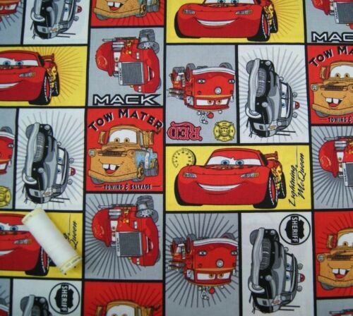 Quilting Craft Half or Metre CARS by DISNEY Cotton Fabric FQ