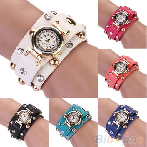 Women's Punk Unique Design Crystal Studs Wrap Faux Leather Bracelet Wrist Watch