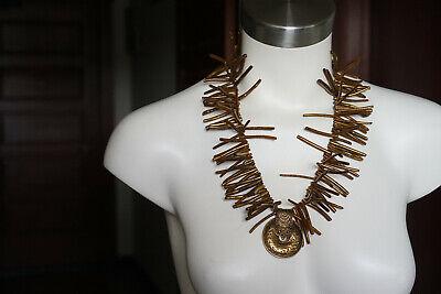Vintage Brass Bead /& Ribbon Necklace Statement Artist Minimalist Grunge Hippie Boho Chic Tribal Casual Free Spirit Style  WhenRosesBloom