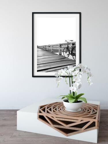 Retro Bike On Bridge Print Vintage Art Home Wall Nostalgic Kitchen Bedroom