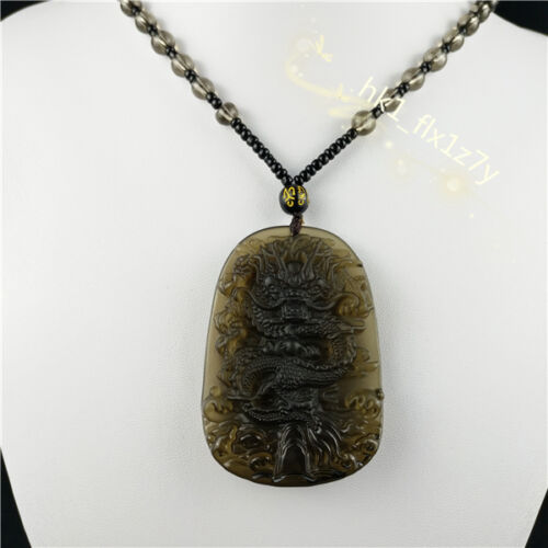 Fashion Natural Obsidian Dragon collier pendentif Lucky Charm Bijoux Amulette Hot