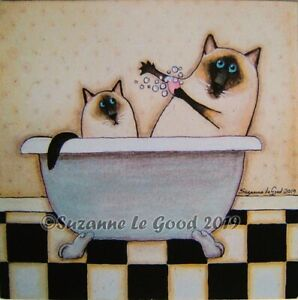 Siamese-Cat-print-from-Original-Painting-Folk-art-style-mounted-Suzanne-Le-Good