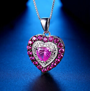 0.74Ct Created Pink Sapphire Heart Cut Sterling Silver Pendant Necklace