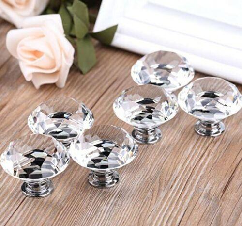 6 Pieces Clear 40mm Diamond Shape Crystal Glass Knob