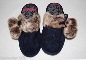 WOMENS-Slippers-DEARFOAM-Navy-Blue-Cableknit-S-5-6-OPEN-BACK-Faux-Fur-Trim