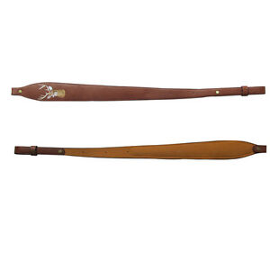 Tourbon-Rifle-Sling-Fusil-Sangle-antiderapantes-rembourre-en-cuir-veritable-chasse-vintage