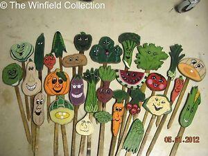 Charmant Image Is Loading Garden Vegetable Wood Stakes Garden Markers Seedlings  Veggie