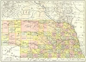 Nebraska State Map Showing Counties Britannica 9th Edition 1898