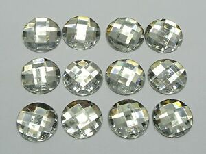 50-Clear-Acrylic-Flatback-Rhinestone-Round-Gem-Beads-18mm-No-Hole