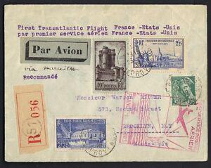 France 1939 First Transatlantic Flight Cover Registered Via Marseille To N.y.