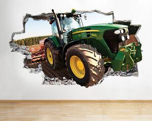 H053-Tractor-ninos-muchachos-frescos-d-pegatina-pared-vinilo-3d-habitacion-ninos