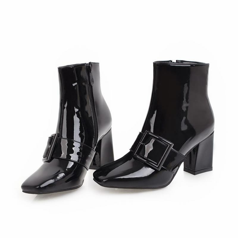 Ladies Buckle Strap Square Toe Side Zip Block Heels Chelsea Ankle Boots shoes