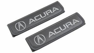 Leather Car Seat Belt Shoulder Pads Covers Cushion For Acura Gray 2 pcs