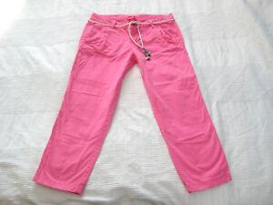 ESPRIT-Capri-CHINO-7-8-HOSE-pink-Bindeguertel-Gr-M-38-wie-NEU