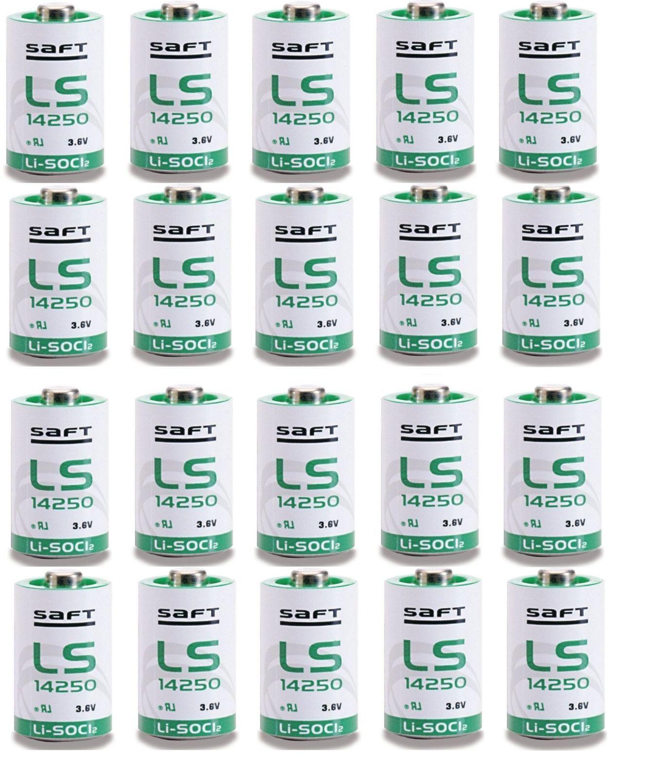 20 Saft Lithium Batteries ls14250 1/2 AA Half Stylus SAFT 3.6v Li