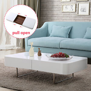 Image Is Loading Rectangular High Gloss White Coffee Table With Storage
