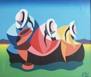 Signed VARITTAS Latin American Cubism Naif Folk Art Painting Peru Mexico Ecuador