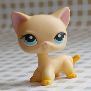 LITTLEST PET SHOP Short Hair yellow kitty blue eyes LPS Figures collection #339