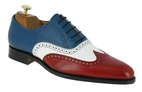 Handmade Men's Genuine Leather Three Tone Oxford Brogue Lace Up Formal shoes