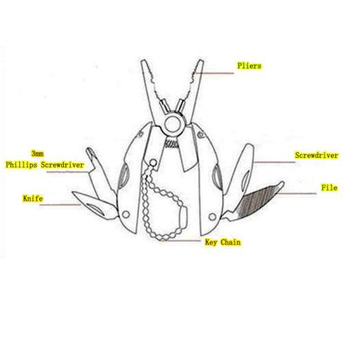 Camping Knives Multi Function EDC Folding Pocket Tool Plier Keychain Screwdriver