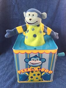 Jack-In-A-Box-Vintage-Peek-a-boo-I-Love-You-Monkey-Tin-Box-Wind-Up-Schylling
