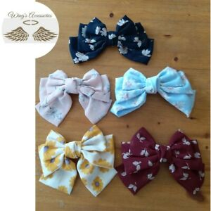 Beautiful and elegant Korean style Handmade Printed Chiffon Bow Hair Clip New