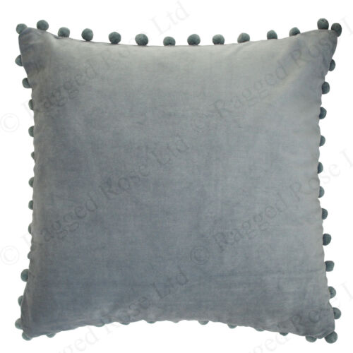 Ragged Rose Large Velvet Pom Pom Cushion