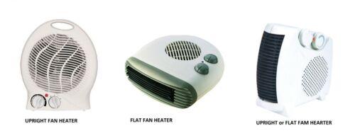 Upright Fan Heater Flat Fan Heater 2000W -2Kw -WHITE Upright or Fan Heater