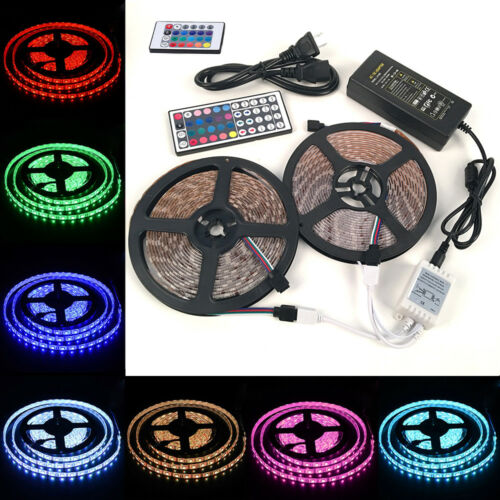 Full Kit 5M 10M 5050 RGB LED Strip Light Lights+24//44 Key IR Remote+12V Power .S