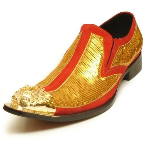 Men/'s Fiesso Gold//Red Leather Suede Pointed Toe Shoes Gold Metal Tip FI 6983